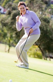 Women implementing golf psychologist secret