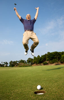Man with winning psychology of golf